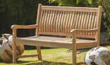 Teak garden benches and memorial benches with plaques