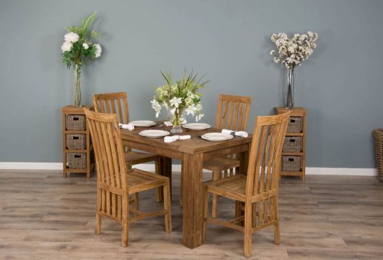 1.2m Reclaimed Teak Taplock Dining Table with 4 Santos Dining Chairs