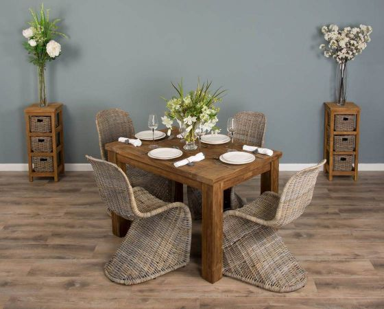 1.2m Reclaimed Teak Taplock Dining Table with 4 Stackable Zorro Chairs