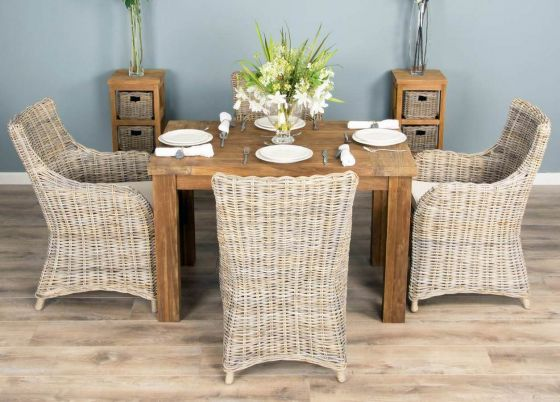 1.2m Reclaimed Teak Taplock Dining Table with 4 Donna Armchairs