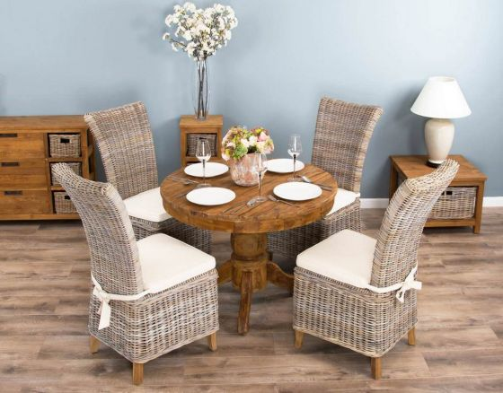 1m Reclaimed Teak Circular Pedestal Dining Table with 4 Latifa Dining Chairs