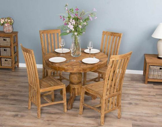 1m Reclaimed Teak Circular Pedestal Dining Table with 4 Santos Dining Chairs
