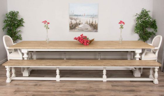 3.6m Reclaimed Pine Ellena Dining Table with Two Backless Benches and Two Ellena Chairs/ Armchairs