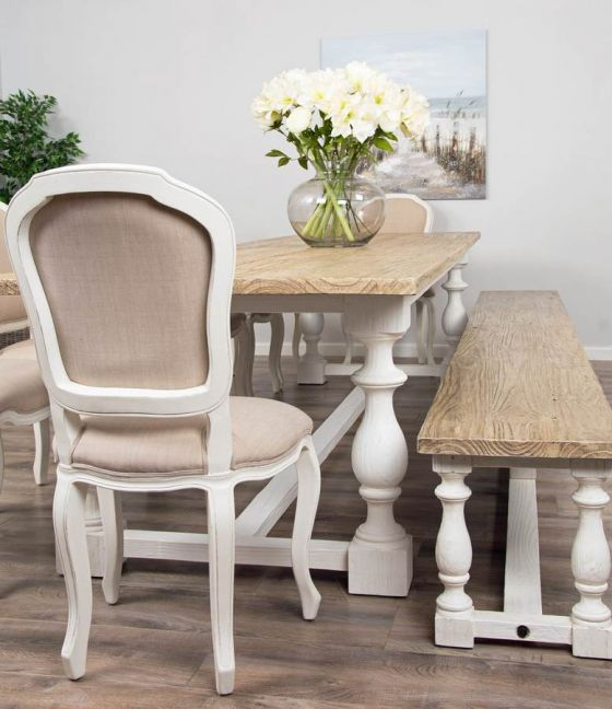 3.6m Reclaimed Pine Ellena Dining Table with Matching Ellena Dining Bench and Eight Paloma Dining Chairs