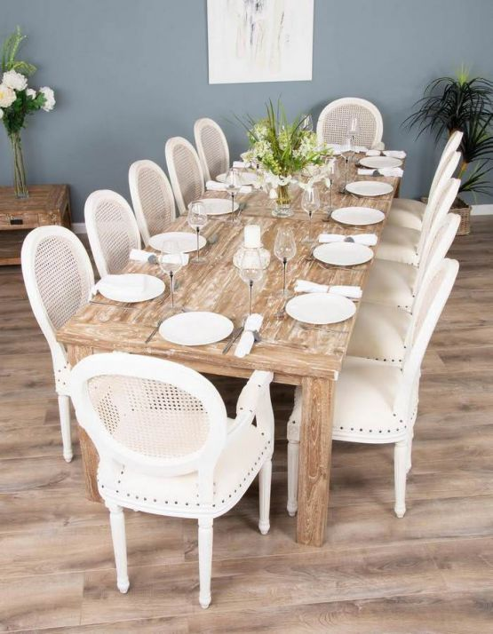3m Mexico Reclaimed Teak Dining Table with 10 Ellena Chairs and 2 Ellena Armchairs