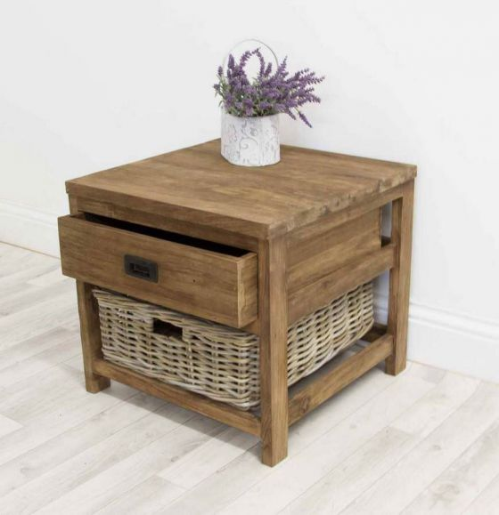 Reclaimed Teak Storage Unit with 1 Drawer and 1 Wicker Basket - Square