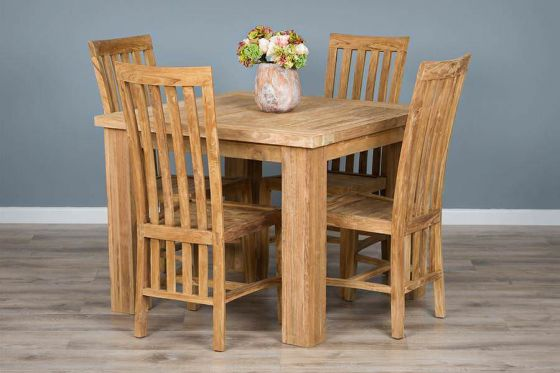 1m Reclaimed Teak Square Taplock Dining Table with 4 Santos Dining Chairs