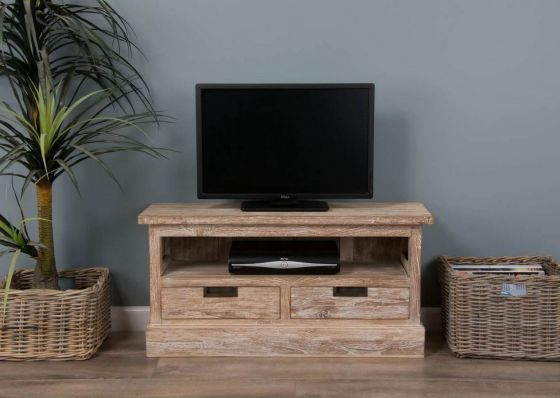 Colonial Reclaimed Teak TV Cabinet - White Wash
