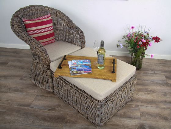 Natural Wicker Riviera Lounger Chair with Footstool