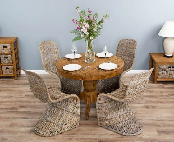 1m Reclaimed Teak Circular Pedestal Dining Table with 4 Stackable Zorro Chairs