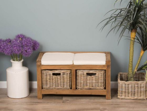 Reclaimed Teak Hall Seat with Natural Cushion - Two Basket
