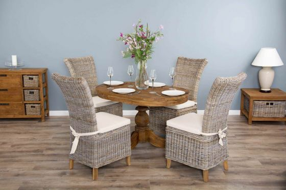 1.2m Reclaimed Teak Oval Pedestal Dining Table with 4 Latifa Dining Chairs