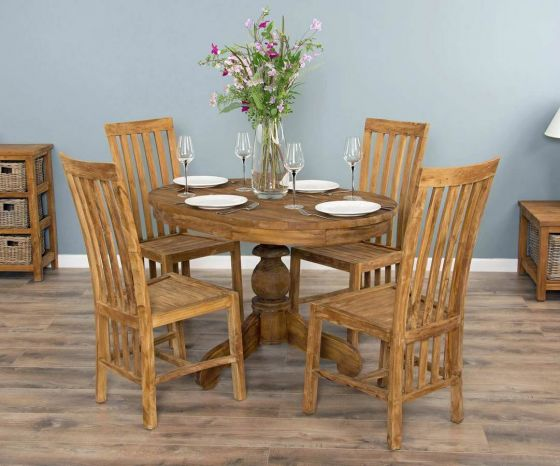 1.2m Reclaimed Teak Oval Pedestal Dining Table with 4 Santos Dining Chairs