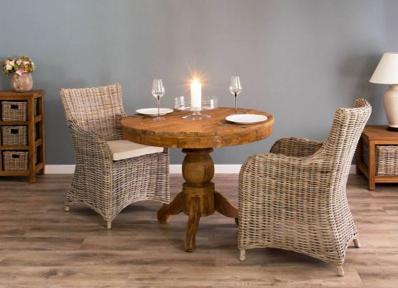 1m Reclaimed Teak Circular Pedestal Dining Table With 2 Donna Armchairs