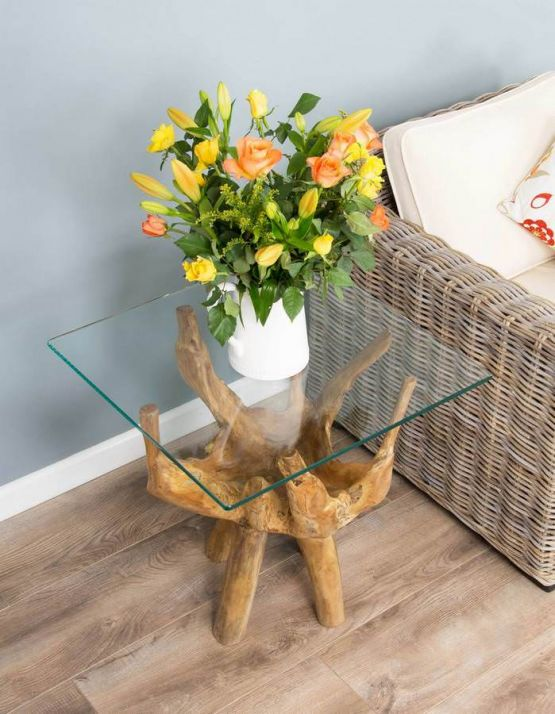 Reclaimed Teak Root Side Table / Sofa End Table