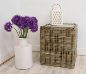 60cm Natural Wicker Glass Topped Coffee Table