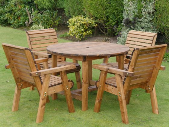 4 Seat Garden Table And Chairs Teak, Wood Round Table Garden Furniture