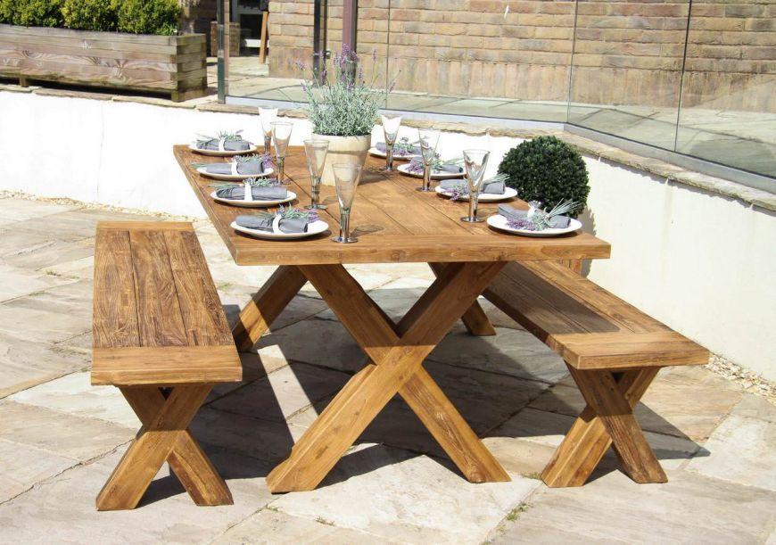 2m Reclaimed Teak Cross Leg Outdoor, Reclaimed Outdoor Dining Table