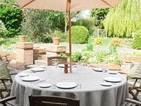 Outdoor linen tablecloths for garden use and picnics.