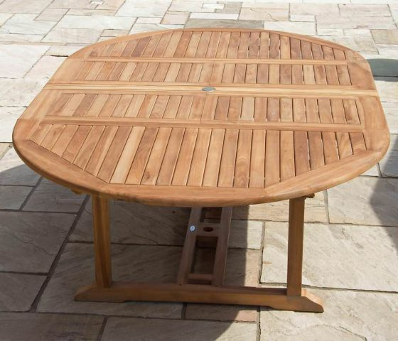 1.5m x 1.5m - 2.3m Teak Circular Double Extending Table