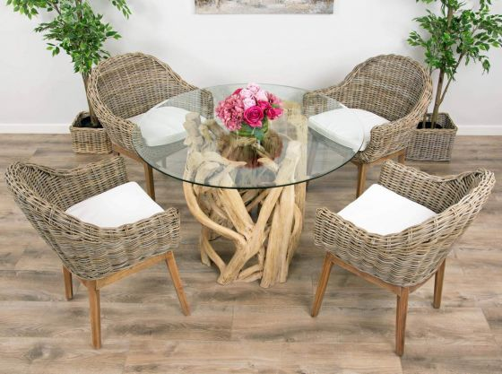 1.2m Java Root Circular Dining Table with 4 or 6 Scandi Armchairs