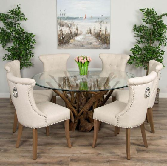1.5m Reclaimed Teak Root Piece Circular Dining Table with 6 Natural Windsor Ring Back Chairs