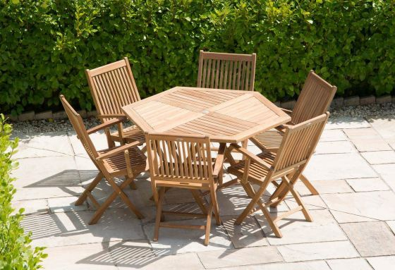 1.2m Teak Hexagonal Folding Table with 6 Kiffa Folding Armchairs