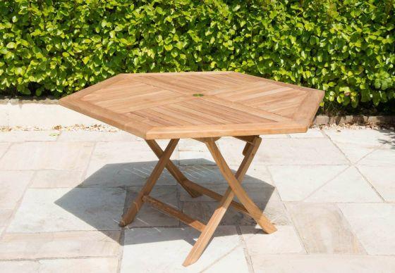 1.2m Teak Hexagonal Folding Table