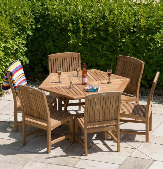 1.2m Teak Hexagonal Folding Table with 6 Marley Chairs - With or Without Arms