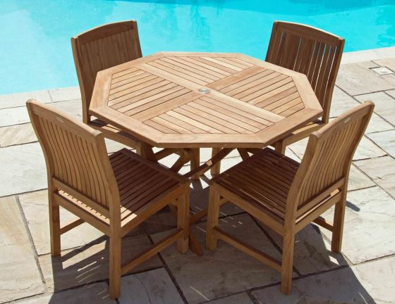 1.2m Teak Octagonal Folding Table with 4 Marley Chairs - With or Without Arms