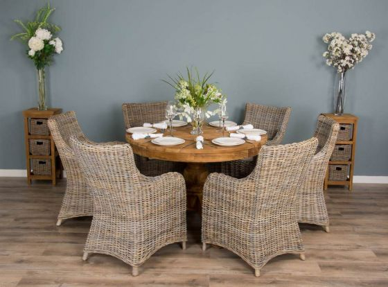 1.2m Reclaimed Teak Circular Pedestal Dining Table with 6 Donna Armchairs