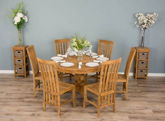 1.2m Reclaimed Teak Circular Pedestal Dining Table With 6 Santos Dining Chairs