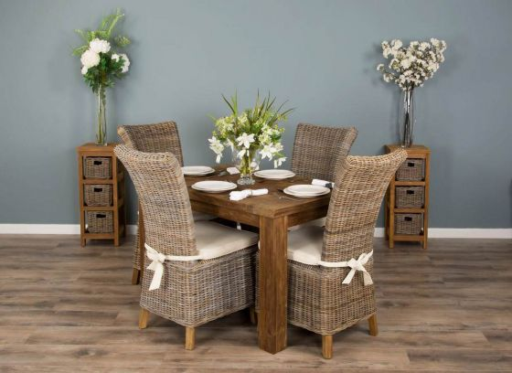 1.2m Reclaimed Teak Taplock Dining Table with 4 Latifa Dining Chairs