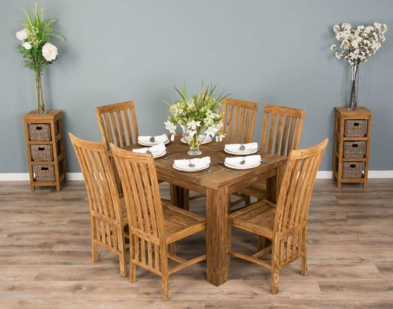 1.2m Reclaimed Teak Taplock Dining Table with 6 Santos Dining Chairs