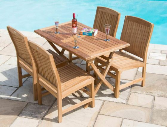 1.2m Teak Rectangular Folding Table with 4 Marley Chairs
