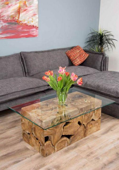 1.2m Reclaimed Teak Root Rectangular Block Coffee Table