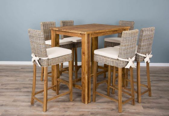 1.2m Rectangular Reclaimed Teak Bar Table with 6 Kubu Wicker Bar Stools