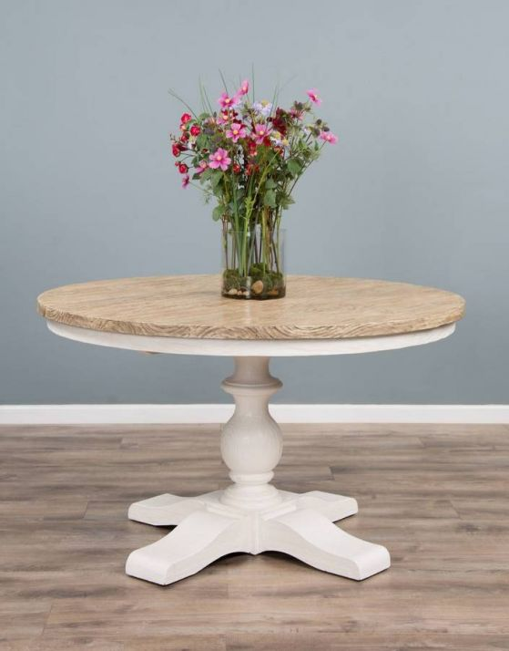 1.3m Reclaimed Pine Country Pedestal Table