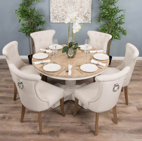 1.3m Reclaimed Pine Country Pedestal Table with Six Natural Windsor Ring Back Chairs