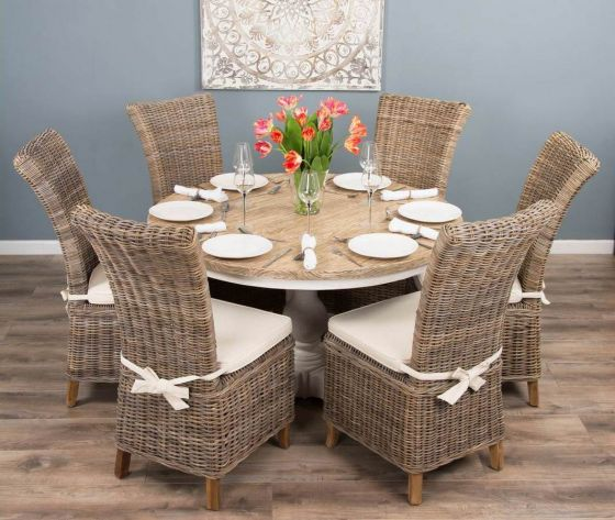 1.3m Reclaimed Pine Country Pedestal Table with Six Latifa Chairs