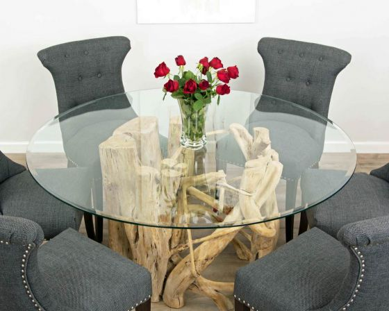 1.5m Java Root Circular Dining Table with 6 Dove Grey Windsor Ring Back Dining Chairs