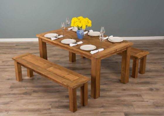 1.6m Reclaimed Teak Mexico Dining Table with 2 Backless Benches