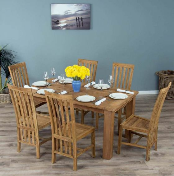 1.6m Reclaimed Teak Mexico Dining Table with 6 Santos Chairs