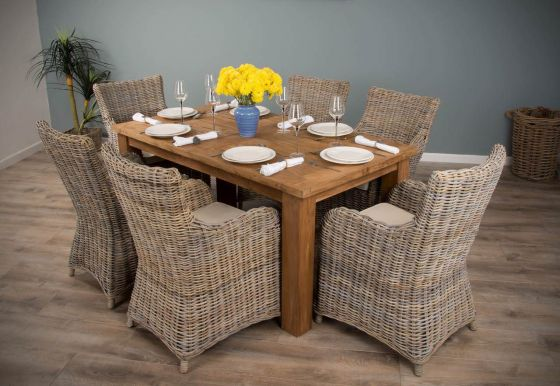 1.6m Reclaimed Teak Mexico Dining Table with 6 Donna Chairs