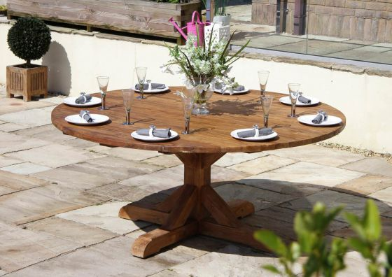 1.8m Dartmouth Reclaimed Teak Circular Garden Table