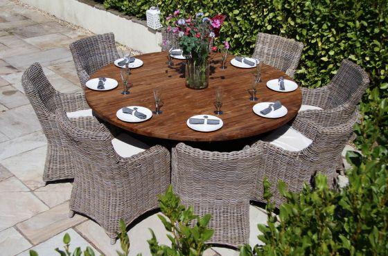 1.8m Dartmouth Reclaimed Teak Circular Garden Table with 8 Donna Armchairs