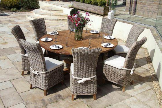 1.8m Dartmouth Reclaimed Teak Circular Garden Table with 8 Latifa Chairs