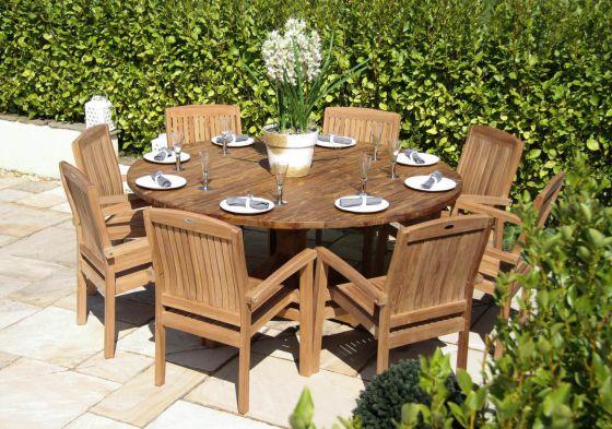1.8m Dartmouth Reclaimed Teak Circular Garden Table with 8 Marley Armchairs