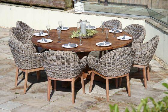 1.8m Dartmouth Reclaimed Teak Circular Garden Table with 8 Scandi Armchairs