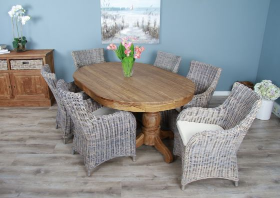 1.8m Reclaimed Teak Oval Pedestal Dining Table with 6 Donna Armchairs